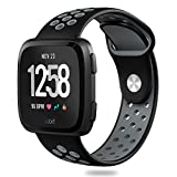 Hagibis Compatible Fitbit Versa Bands Sport Silicone Replacement Breathable Strap Bands New Fitbit Versa Smart Fitness Watch (Black&Gray)