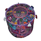 Indian Round Patchwork Embroidered Ottoman Pouf Bohemian Indian Decorative Patchwork Ottoman Pouf , Handmade Ottomen ,Cotton Chair Cover,Home Living Room Vintage Pouf Size 13 X 18 X 18 Inches