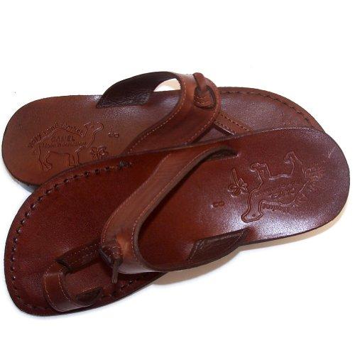 Unisex Vuxna / Barn Äkta Läder Bibliska Sandaler / Flip Flops (jesus - Yashua) Nazareth Stil - Helig Fastighetsmarknad Kamel Varumärke