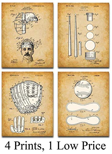 Original Baseball Patent Art Prints – Set of Four Photos (8×10) Unframed – Makes a Great Gift Under $ 20 for Baseball Players or Boy's Room Decor