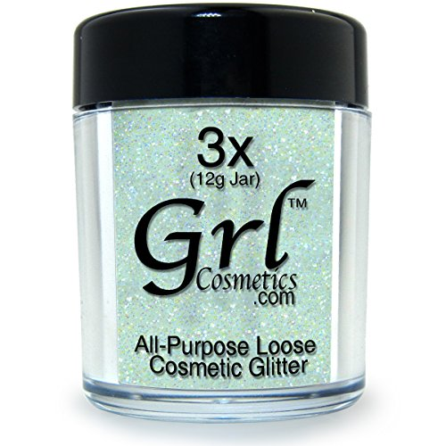 Face Lips Eyes Nails (Grl Cosmetics Cosmetic Glitter Makeup for Face, Eyes, Lips, Nails and Body - GL43 Rainbow White, 12 Gram Jar)