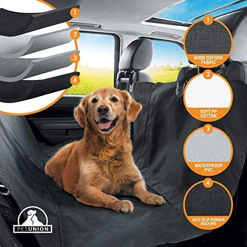 Pet Union Dog Seat Cover for Rear Bench for Large Small Dogs, Heavy Duty Seat Cover for Pets, Easy to Clean, 100 Waterproof, Non-Slip for Cars Trucks and SUVS