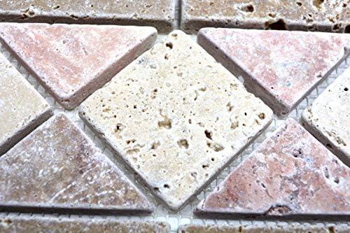 Borde Bord/üre Travertin Naturstein beige rot braun Bord/üre 12,5x30,5x1 Pluto MOSBOR-60204