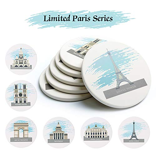 Coasters for Drinks Set of 6 - Absorbent Ceramic Stone Drink Coaster Set with Cork Back Prevent Scratched 4.3 Inch Round Coasters for Mugs and Cups Home Office Bar Notre Dame de Paris Souvenir