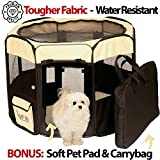 """Image of Adley Premium Pet Playpen with Washable Pad & Carry Bag - 52"""" Soft Foldable 2-Door Indoor/Outdoor Higher Tear Strength - Steel Framed Pop-up Portable Puppy, Cat, Dog Tent Kennel House Playpen"""