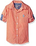 Image of U.S. Polo Assn. Boys' Toddler Boys' Long Sleeve Single Pocket Sport Shirt, Soft Red/Orange, 4T