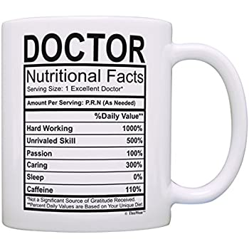 Doctor Gifts For Women Nutritional Facts Doctorate Graduation Gift Ideas Coffee Mug Tea Cup White
