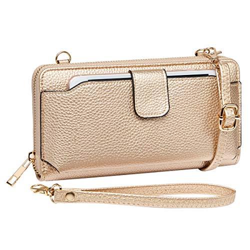 K A Women Purse Wallet RFID Blocking Credit Card Phone Case Wristlet Handbags (Rose Gold)