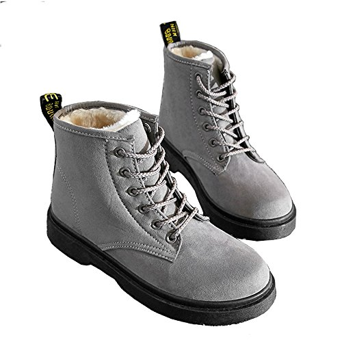 Winter Martin Boots, Women Low Heel Lace Round Toe Plush Inside Warm Snow Shoes Boots, Slip Resistance