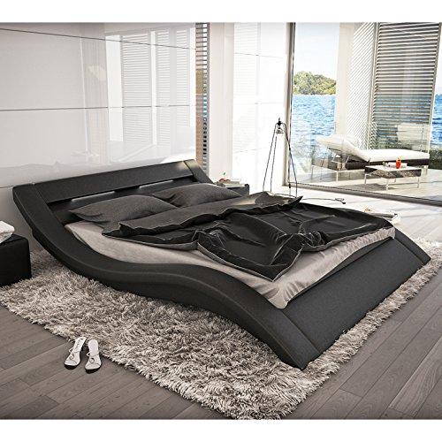 Polster-Bett 200x220 cm schwarz aus Kunstleder mit LED-Beleuchtung | Kool | Das Kunstleder-Bett ist ein Designer-Bett | Doppel-Betten 200 cm x 200 cm in Kunstleder, Made in EU