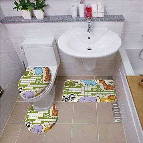 Bath mat set Round-Shaped Toilet Mat Area Rug Toilet Lid Covers 3PCS,Word Search Puzzle,Colorful Crossword Game for Children Wild Jungle Safari Animals Grid Decorative,Multicolor ,Bath mat set Round-S