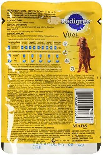 PEDIGREE alimento húmedo para perros adultos. Sabor: Res en Filetes. Contiene 10 sobres 3