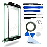 (US) Front Glass for Samsung Galaxy S7 Edge Black G935 Series Display Touchscreen incl Tool Kit / Pre-cut Sticker / Tweezers/ Roll of 2mm Adhesive Tape / Suction Cup / Metal Wire / cleaning cloth MMOBIEL