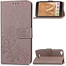 Wiko Lenny3 Max Case, SATURCASE Lucky Clover PU Leather Flip Magnet Wallet Stand Card Slots Protective Case Cover for Wiko Lenny3 Max (Gray)
