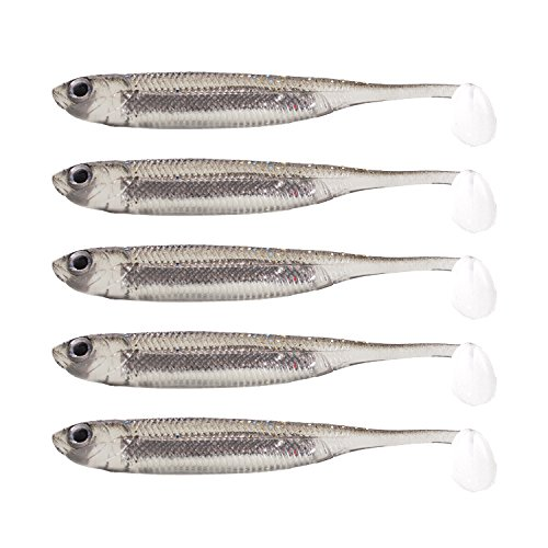 "Fishcm Softbait Wiggle Shad Soft Plastic Swimbait Fishing Lure Smallmouth Bass Perch 3"" Blue, Silver,Red (Silver) Pack of 5pcs"