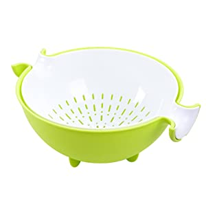 CHICHIC 2 in 1 Kitchen Strainer/Colander Bowl Sets, Large Plastic Washing Bowl and Strainer, Detachable Colanders Strainers Set, Space Saver for Fruits Vegetable Cleaning Washing Mixing, Green
