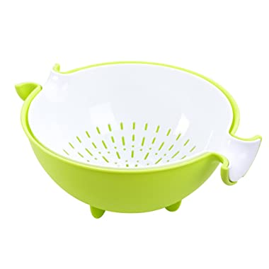 CHICHIC 2-in-1 kitchen Strainer/Colander & Bowl Sets, Large Plastic Washing Bowl and Strainer, Detachable Colanders Strainers Set, Space-Saver, for Fruits Vegetable Cleaning Washing Mixing, Green