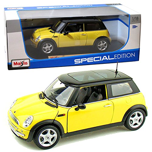 Maisto Year 2014 Special Edition Series 1:18 Scale Die Cast Car Set - Yellow Color MINI COOPER with Sun Roof and Display Base (Car Dimension: 7-1/2 x 3-1/2 x 3)