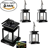 LEAGY 4 Pack Solar Outdoor LED Umbrella Lantern Hang Hanging Lamp LED Candle Light for Yard Garden Decoration (4Pack,Yellow light)