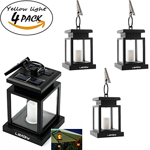 LEAGY 4 Pack Solar Outdoor LED Umbrella Lantern Hang Hanging Lamp LED Candle Light for Yard Garden Decoration (4Pack,Yellow light) (8 Light Outdoor Hanging Lantern)