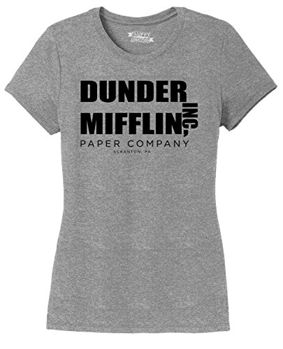 Shirt Ladies Show (Ladies Tri-Blend Tee Dunder Mifflin A Paper Company Funny TV Show Shirt Grey Frost S)