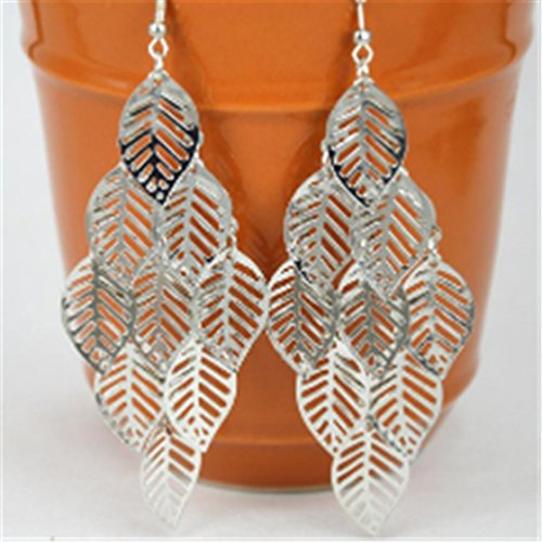[ULAKY Multi-layer Leaves Earrings Tassel Leaf Dangle Earrings] (Revealing Costumes)