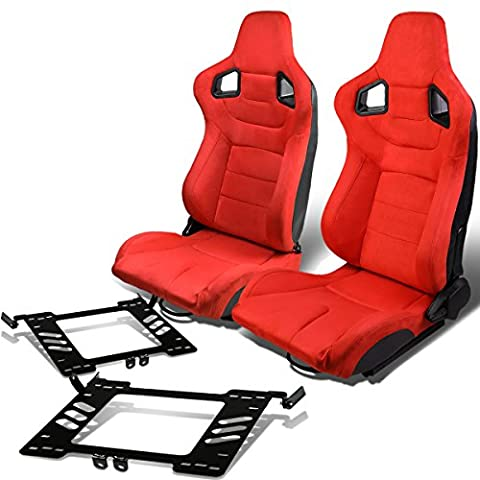 Pair of RS-025-RD Suede Reclinable Racing Seat+Bracket for VW Golf/Jetta/Beatle (Backwards Beatles)