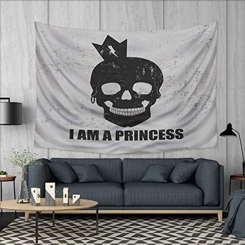 Anhuthree I am a Princess Tapestry Wall Tapestry Skull with a Crown Skeleton Halloween Theme Grunge Look Art Wall Decor 60