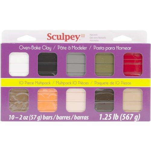Brand New Sculpey III Polymer Clay Multipack 2oz 10/Pkg-Naturals Brand New