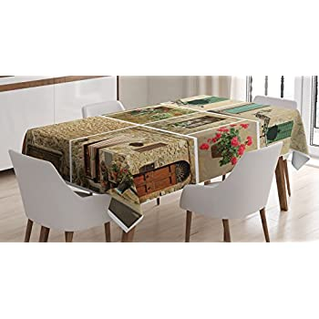 Attractive Tuscan Decor Tablecloth By Ambesonne, Various Pictures Of Italian Lifestyle  With Old Classic Shutter Window