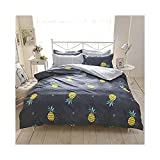 "Bed Set 4pcs Beddingset Duvet Cover Set No Comforter Duvet Cover Flatsheet Pillowcase KY Twin Full Queen Set Fruit Pineapple Design for Kids Adults Teens Sheet Sets (Queen 78""x90"", Pineapple, Grey)"