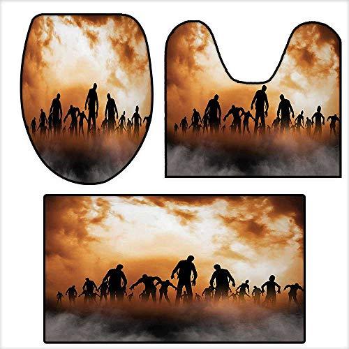 (qianhehome Non-Slip Bathroom Toilet Mat Zombies Dead Men Body Walking in The Doom Mist at Dark Night Sky Haunted Orange Black.3 Pieces Microfiber Soft 16.9