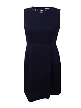 ec7eb8ccf0 Image Unavailable. Image not available for. Color: Tommy Hilfiger Women's  Embellished Fit & Flare Dress ...