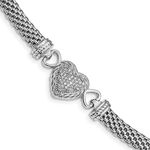 ICE CARATS 925 Sterling Silver Cubic Zirconia Cz Heart Mesh Link Bracelet 7.5 Inch Fancy Fine Jewelry Gift Set For Women Heart by ICE CARATS