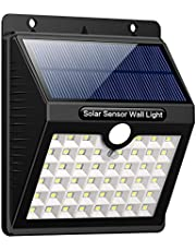 Solar Lights Outdoor, iPosible Upgraded 46 LED 1800 mAh Solar Lamp with Motion Sensor LED Solar Powered Lights Waterproof Safety Wall Lights Outside with 3 Modes for Garden, Fence, Patio [ 4 Pack ]