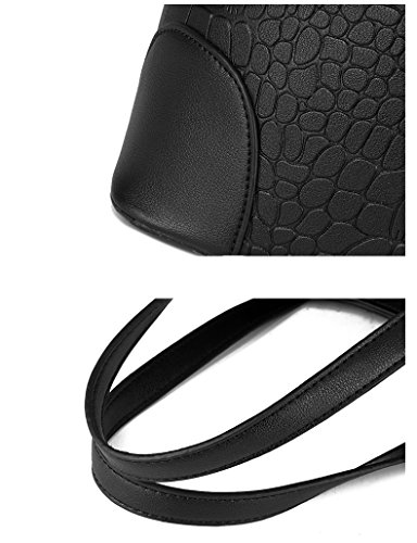 Satchel Handbag Leather Purse Sets for Women Satchel Purse Tote Bag Top handle Handbag Set Shoulder Bag Purse and Wallet(Black) by LIKE IT LOVE IT (Image #7)