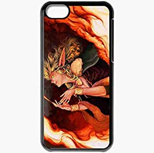 Personalized Case For Iphone 5C Cover Cell phone Skin Art Girl Fire Magic Elf Black BY supermalls