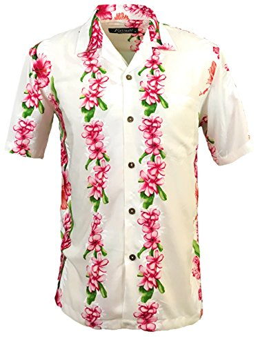 Favant Tropical Luau Beach Floral Panel Print Mens Hawaiian Aloha Shirt
