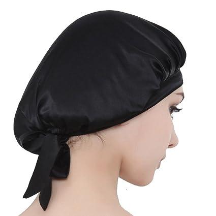 meilleure sélection 3009e 6ce62 Greencolourful chapeau de nuit bonnet de nuit en soie bonnet de couchage  pour femme (noir)