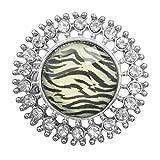 Animal Print Round Dome with Rhinestones Large Stretch Cocktail Ring (Zebra Stripe Print Silver Tone Burst)