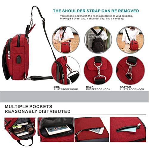 Shoulder DOUN With Sling Girls Boys Bag Bag Backpack Charging Cross Body Women for Port Red USB Messenger Men qqCwxfHp