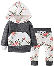 NEWLL Baby Girl Clothes Long Sleeve Flowers Hoodie Tops Pants Outfit Set for Newborn Infant Toddler Child