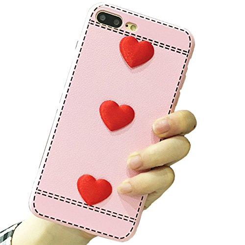 - iPhone 8/7 Silicone Case for Women Cute 3D Ringke Sparkle Red Candy Hearts Crystal Leather Felt Slim Flexible Border Smartphone Case Cover for Apple iPhone 8/7(iPhone 8/7, Pink)