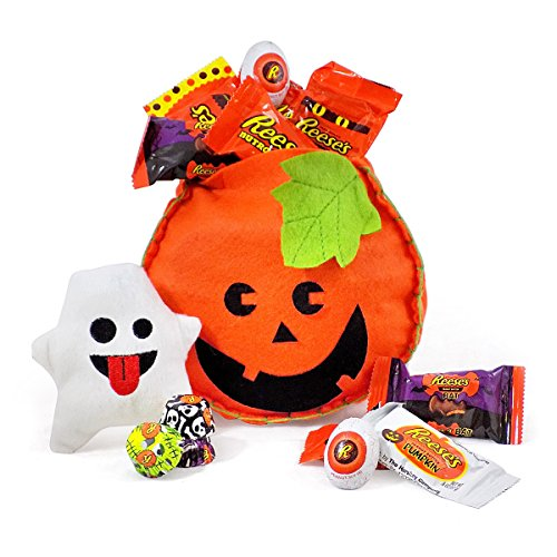 'Scared to Pieces' Reese's That Is! Chocolate Pumpkin Halloween Gift Basket with Plush Emoji Reese Bats (Pumpkin Cheese Ball Halloween)