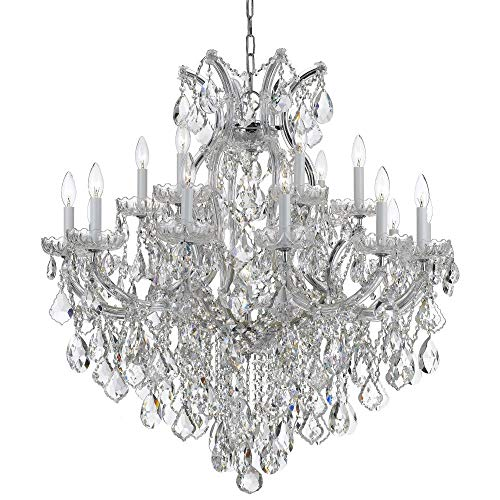 (Crystorama 4418-CH-CL-S Crystal 18 Light Chandeliers from Maria Theresa collection in Chrome, Pol. Nckl.finish,)