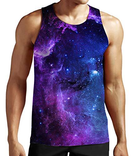 Idgreatim Men 3D Print Galaxy Cluster Sleeveless Shirt Boys Graphic Tees Medium