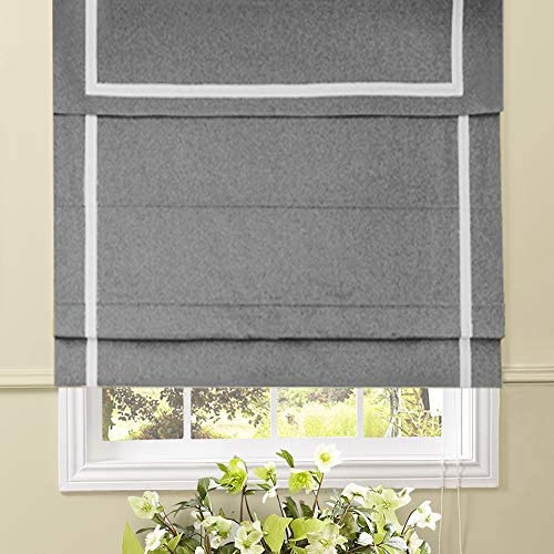 Artdix Roman Shades Blinds Window Shades – Light Grey 50.5 W x 84L Inches 1 Piece Blackout Solid Fabric Custom Made Roman Shades for Windows, Doors, Home, Kitchen, Living Room Including Valance