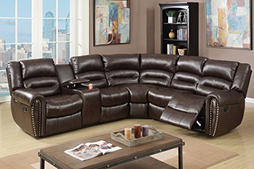 Benzara BM166730 Bonded Leather 3 Piece Reclining Sectional, Brown