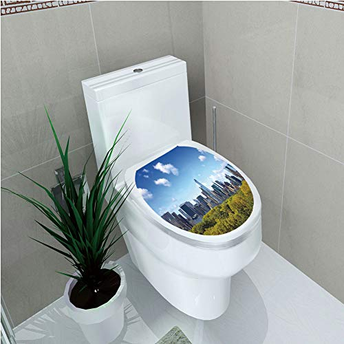 Toilet Custom Sticker,City,Manhattan Skyline with Central Park in New York City Midtown High Rise Buildings,Blue Green Ivory,Diversified Design,W12.6