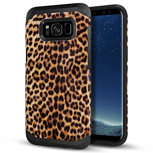 Galaxy S8 Plus Case, LOEV Slim Fit Heavy Duty Samsung S8 Plus Protective Case [Black Rubber Bumper & Hard PC Back] Shockproof Armor Case Cover for Samsung Galaxy S8 Plus - Cheetah Cute Print